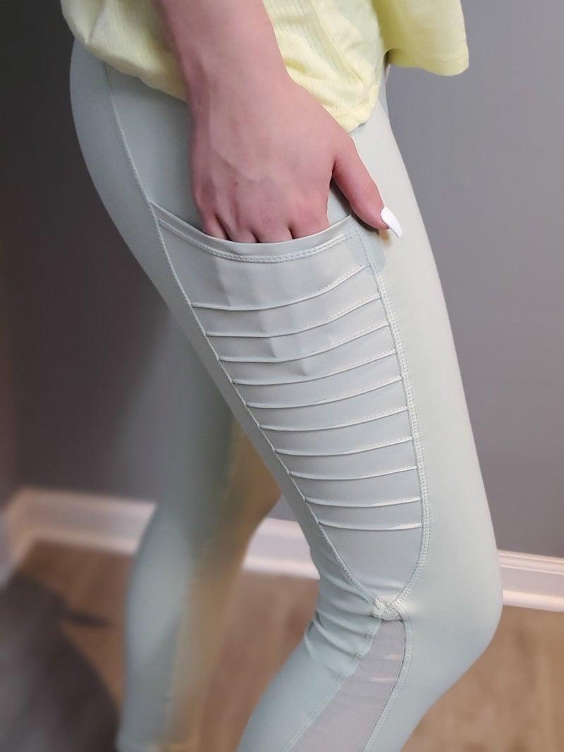 Moto Ribbed Splice Mesh Pocket Legging