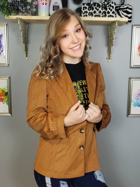 Notched Collar Single Breasted Lightweight Cord Blazer *Final Sale*