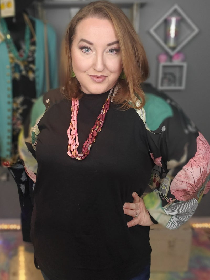 Curvy Sheer Floral Print Raglan Sleeve Top *Final Sale*