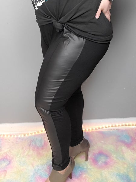 Curvy Wide Waistband Mixed Media Pants *Final Sale*