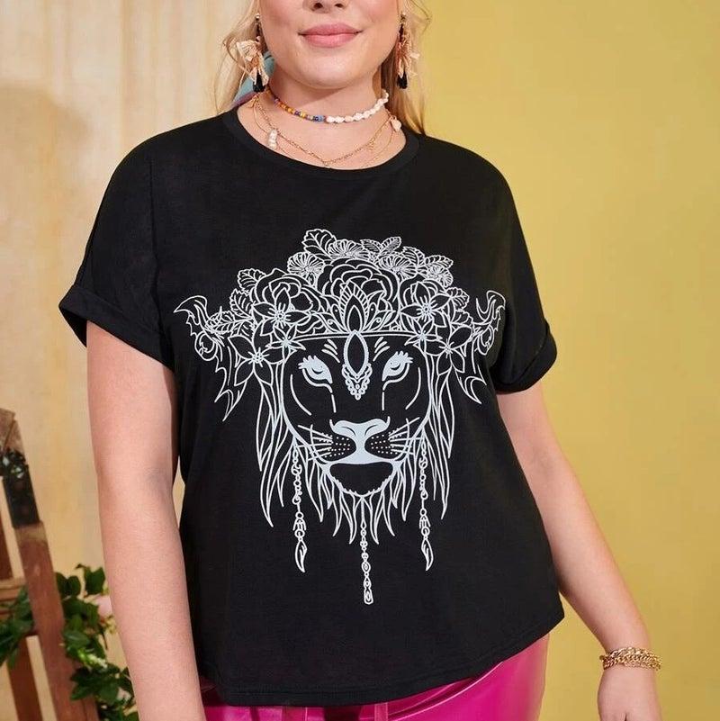 Curvy Bohemian Lion Roll Up Sleeve Tee *Final Sale*
