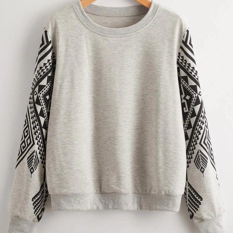 Tribal Print Round Neck Lightweight Sweatshirt *Final Sale*