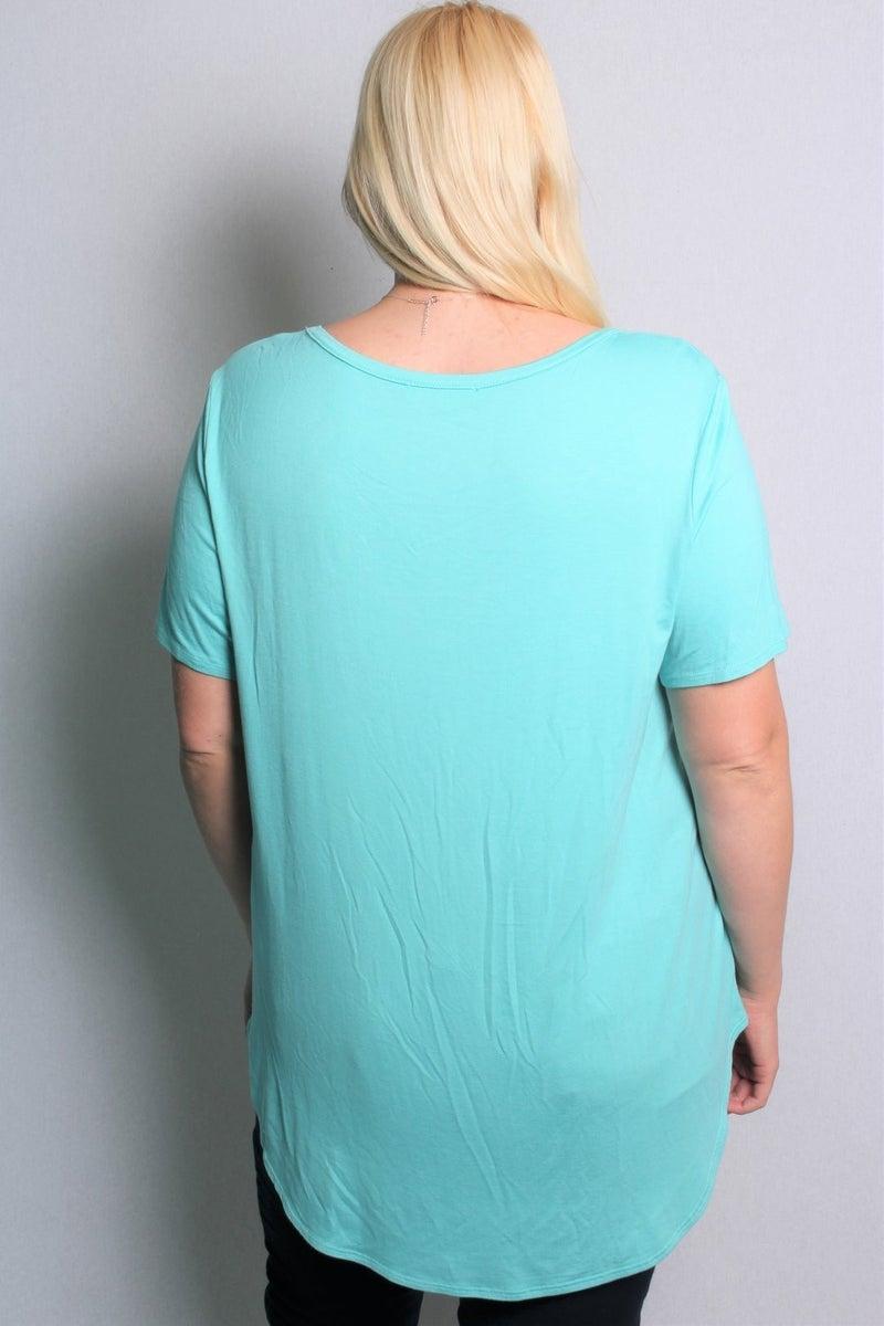 Curvy Short Sleeve V-Neck Solid Top