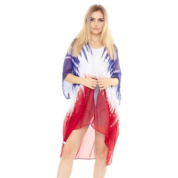 Red White & Blue Tie Dye Kimono