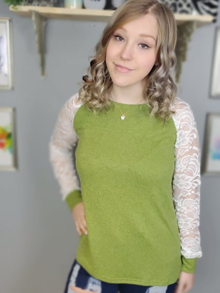 Sheer Lace Raglan Sleeve Lightweight Sweater *Final Sale*