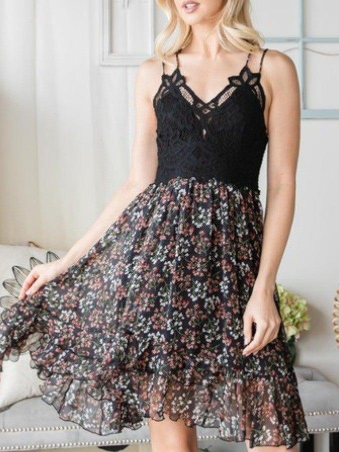 Floral Lace Crochet Bodice Dress