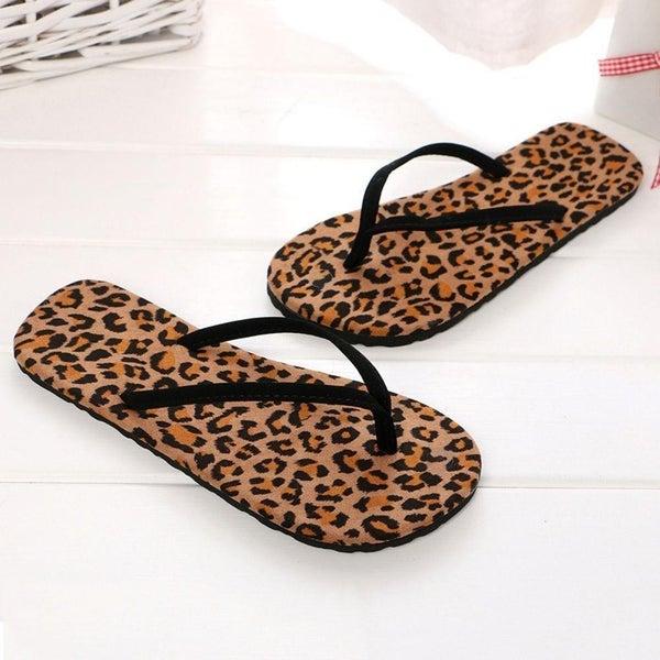 Leopard Print Thong Flip Flops