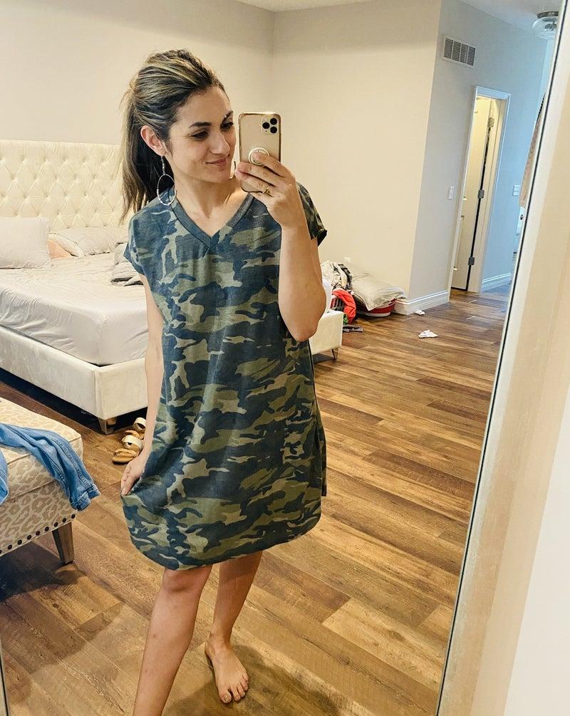 Cassie Camo Pocket Dress