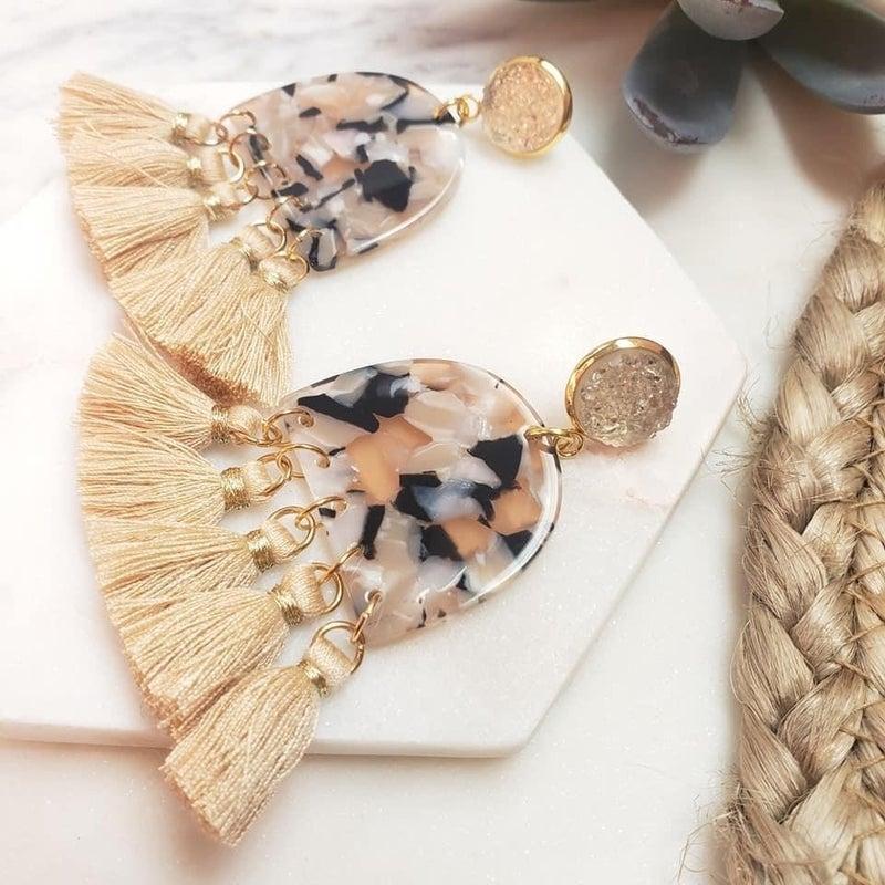 Cassie Beige Tassle Earring