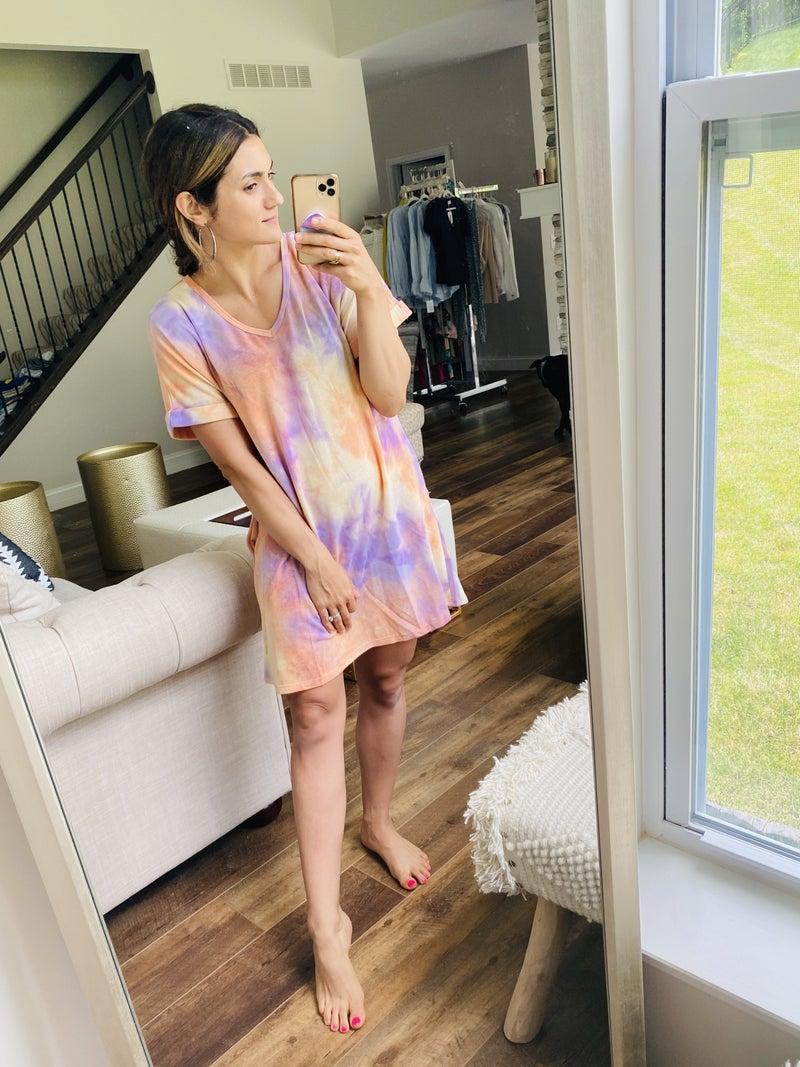 Tie Dye Pocket Tee Dress