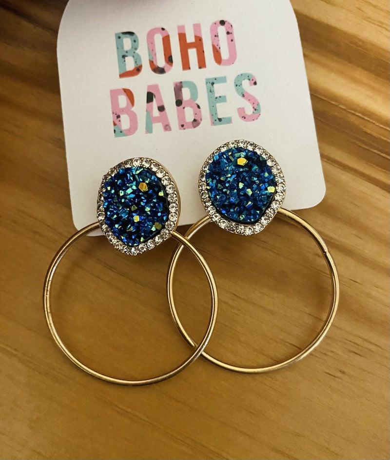 Blue Druzy Glam Hoops