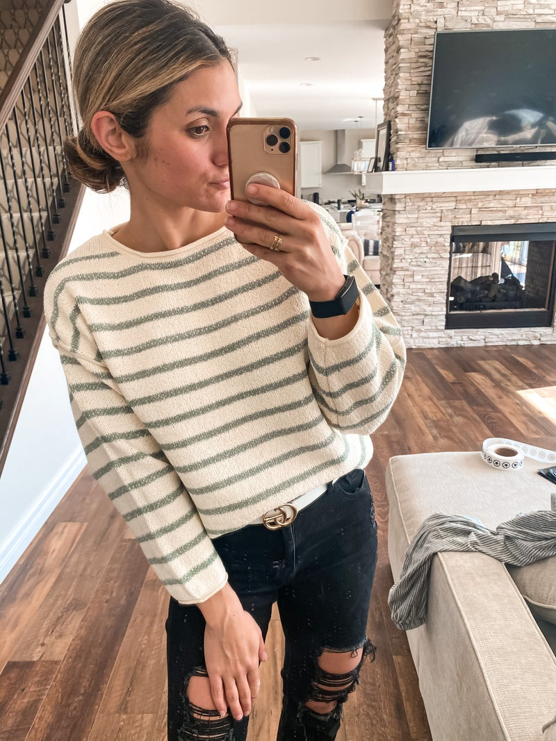 Call Me Later Stripe Pullover