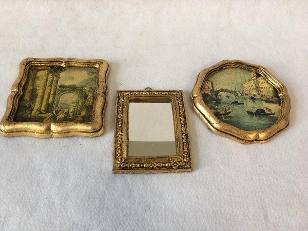 Trio of Italian pictures/mirror