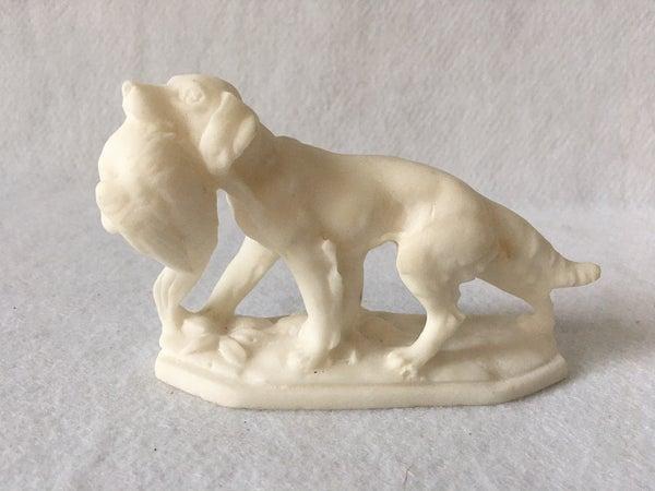 White alabaster setter w/pheasant