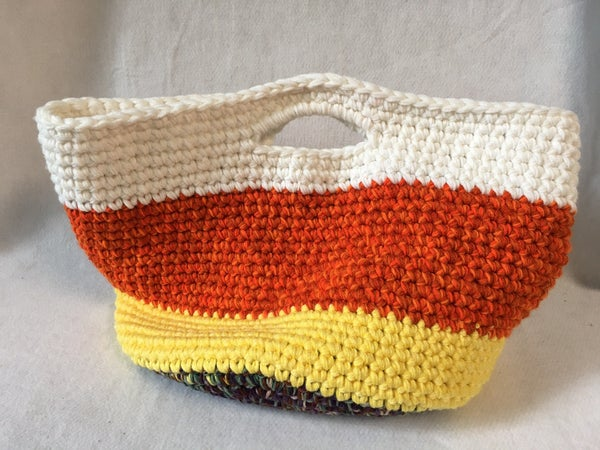 Candy cane crocheted bag