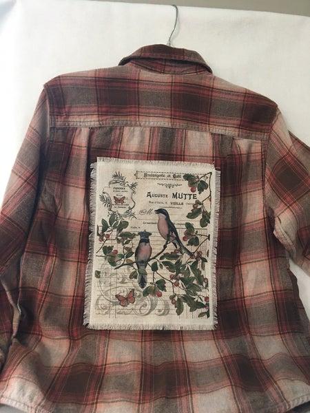 Vintage flannel shirt w/Monahan print, women's small