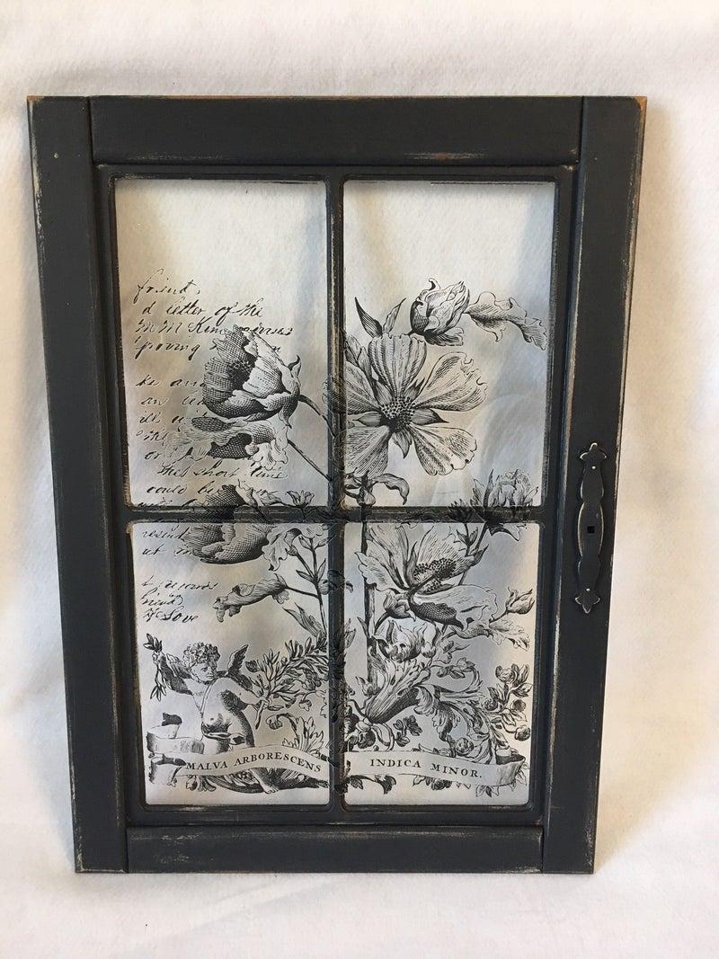 Black transfer on 4 paned window