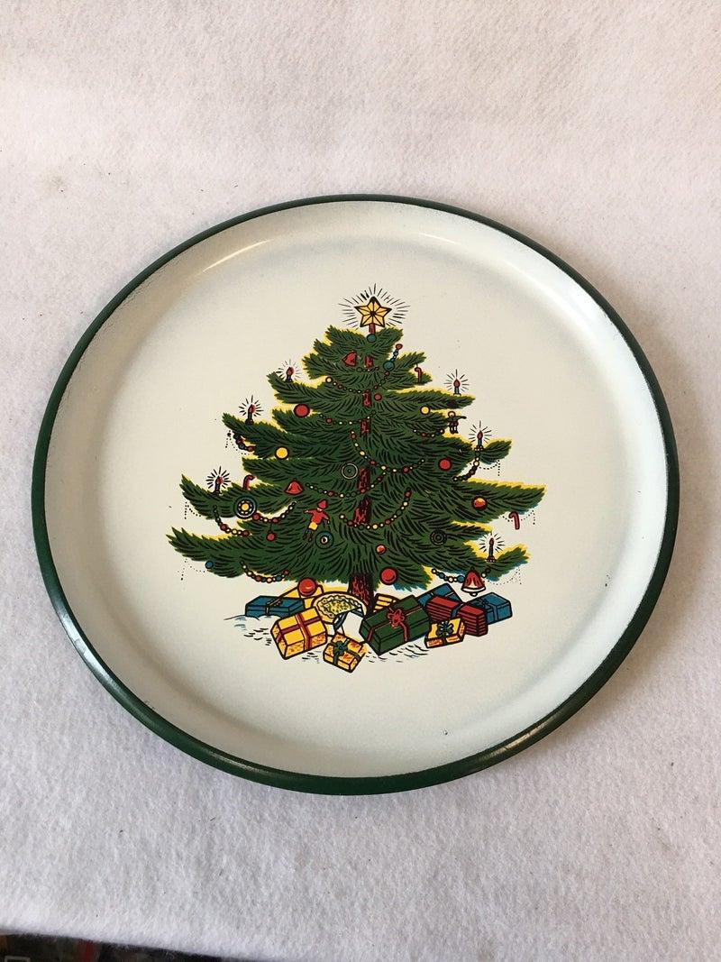 "13"" round plastic serving tray, Christmas tree design"