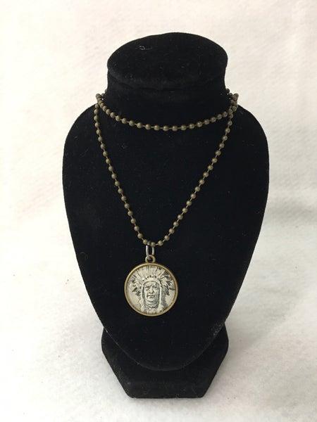 Indian chief/buffalo nickel necklace