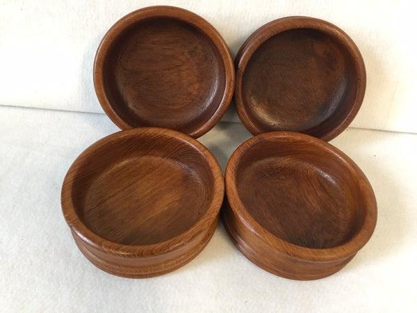 4 vintage wooden salad bowls