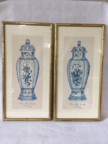 """Pair of vintage """"Ming Dynasty"""" prints"""