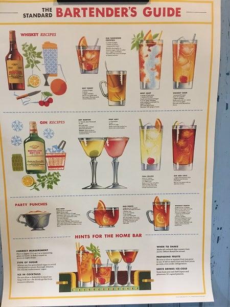 Bartender's guide poster w/hanging kit