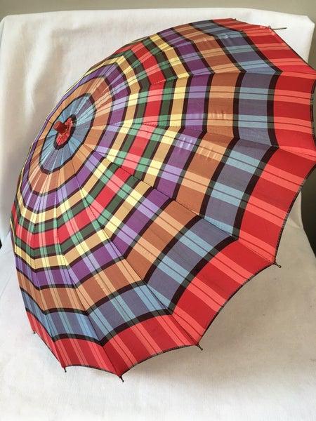 Vintage red plaid umbrella