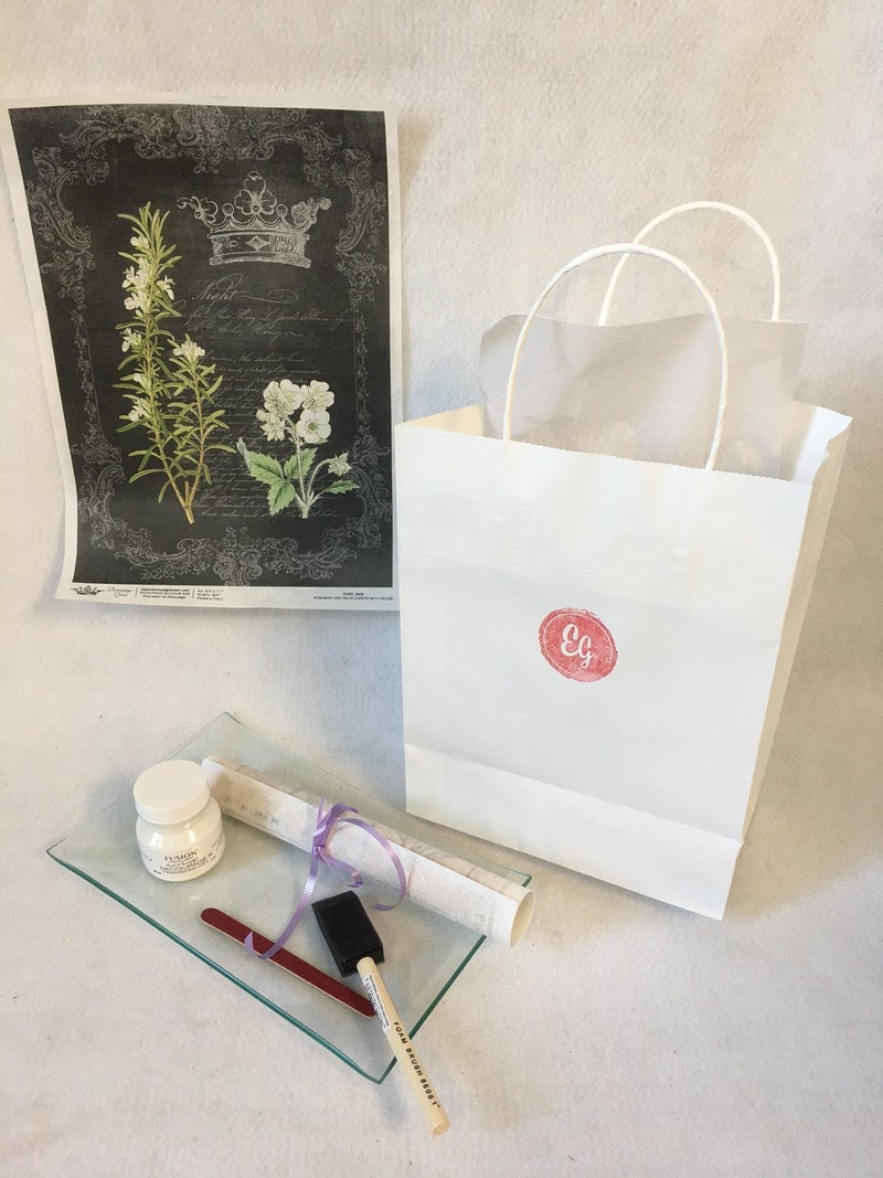 DIY glass tray kit, black floral