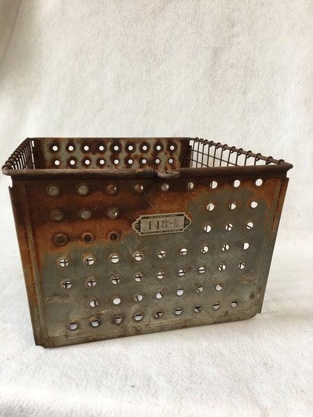 Vintage metal locker basket from the 1940's