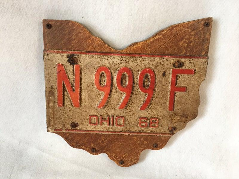 Handmade Ohio license plate sign, 1968