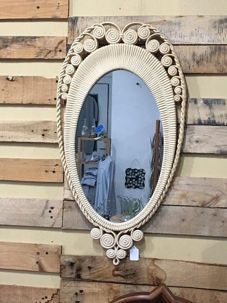 Vintage Faux Rattan mirror
