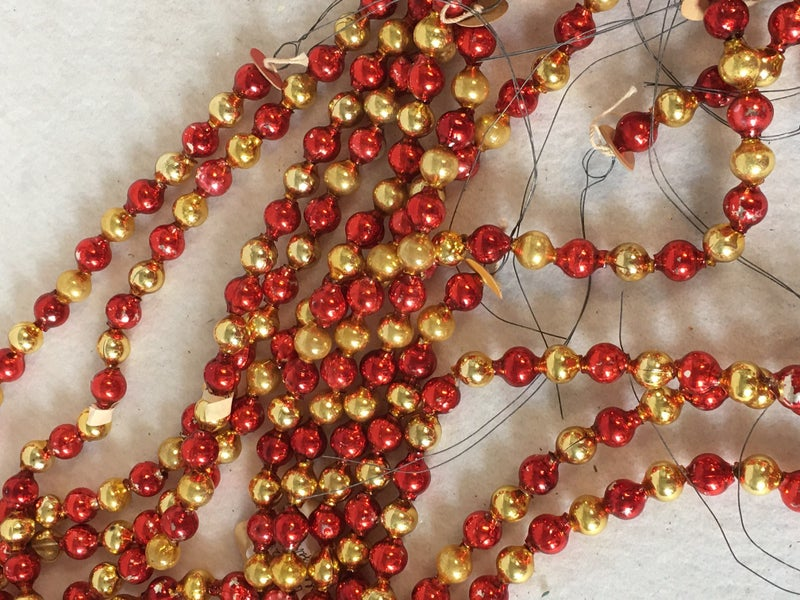 """6 28"""" strands red & gold Mercury glass"""