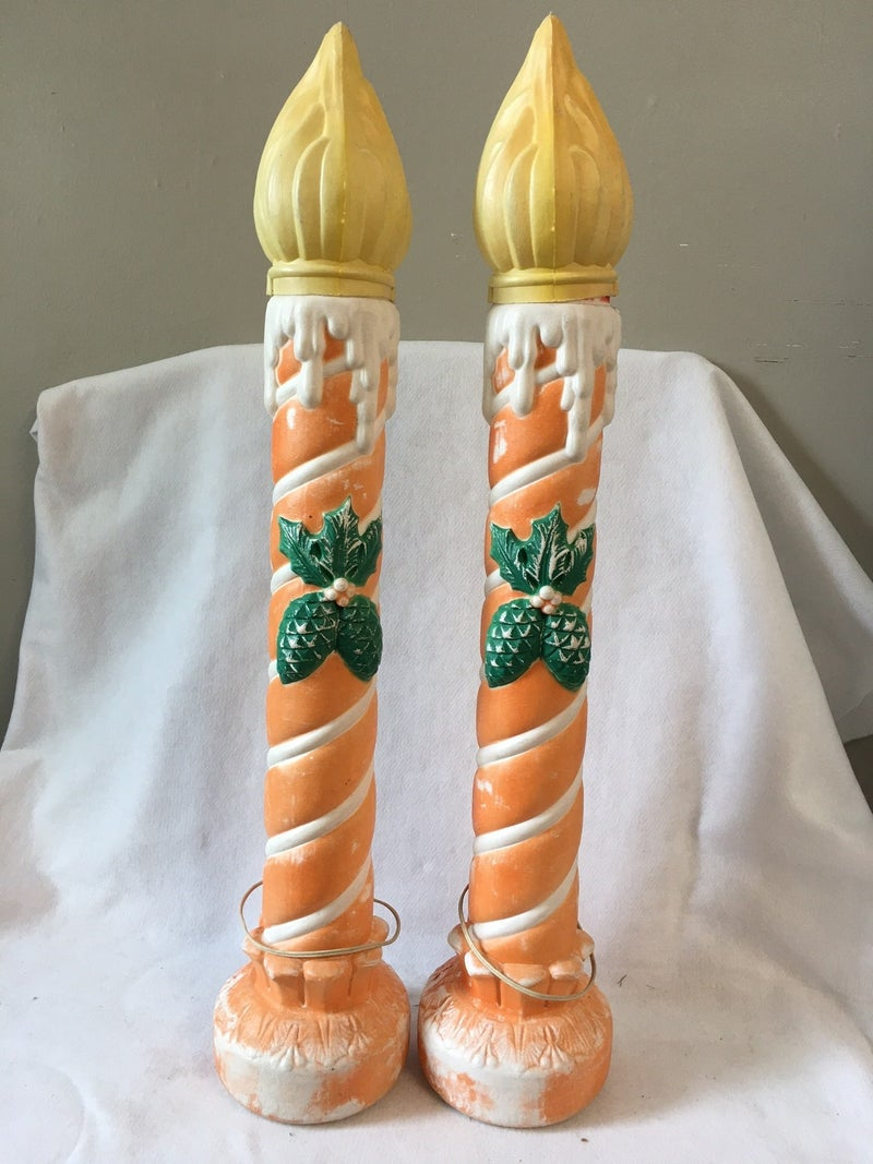 Blow mold candles faded orange no shipping