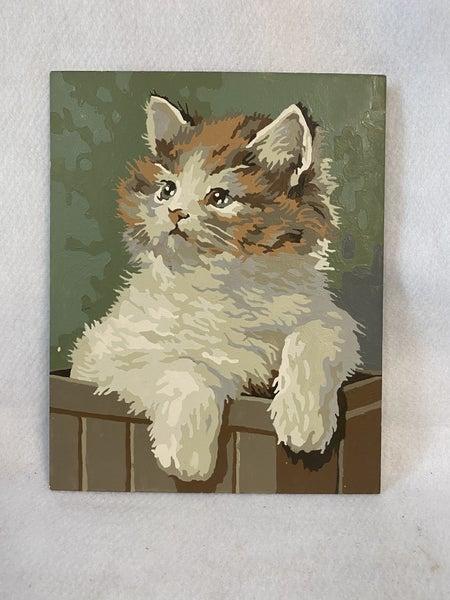Vintage kitten in box oil painting