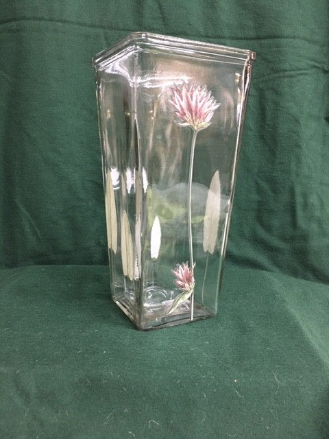 Clear vase with IOD transfers