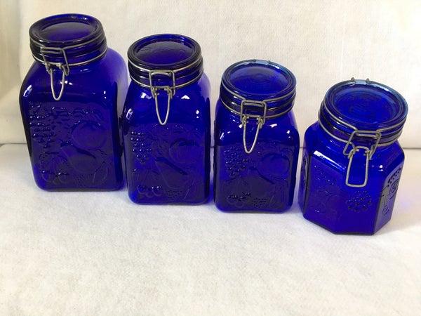 Cobalt blue glass canister set
