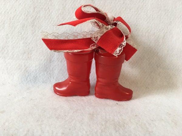 Red plastic Santa boots ornament