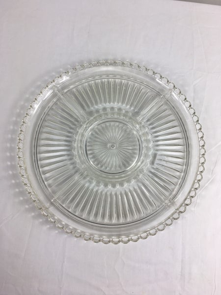 Divided glass serving dish