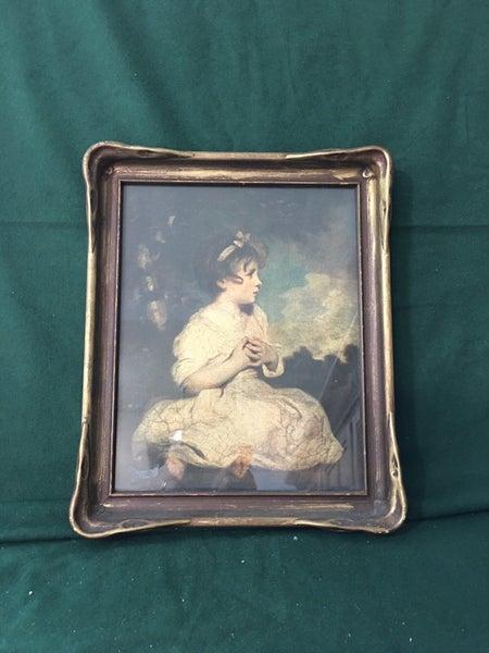 """Girl sitting"" vintage art"