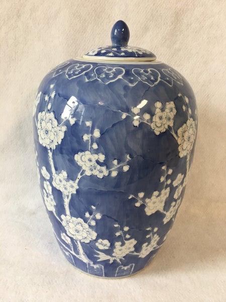 Blue & white melon jar