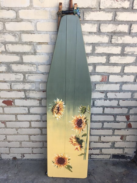 Vintage wooden ironing board w/transfer