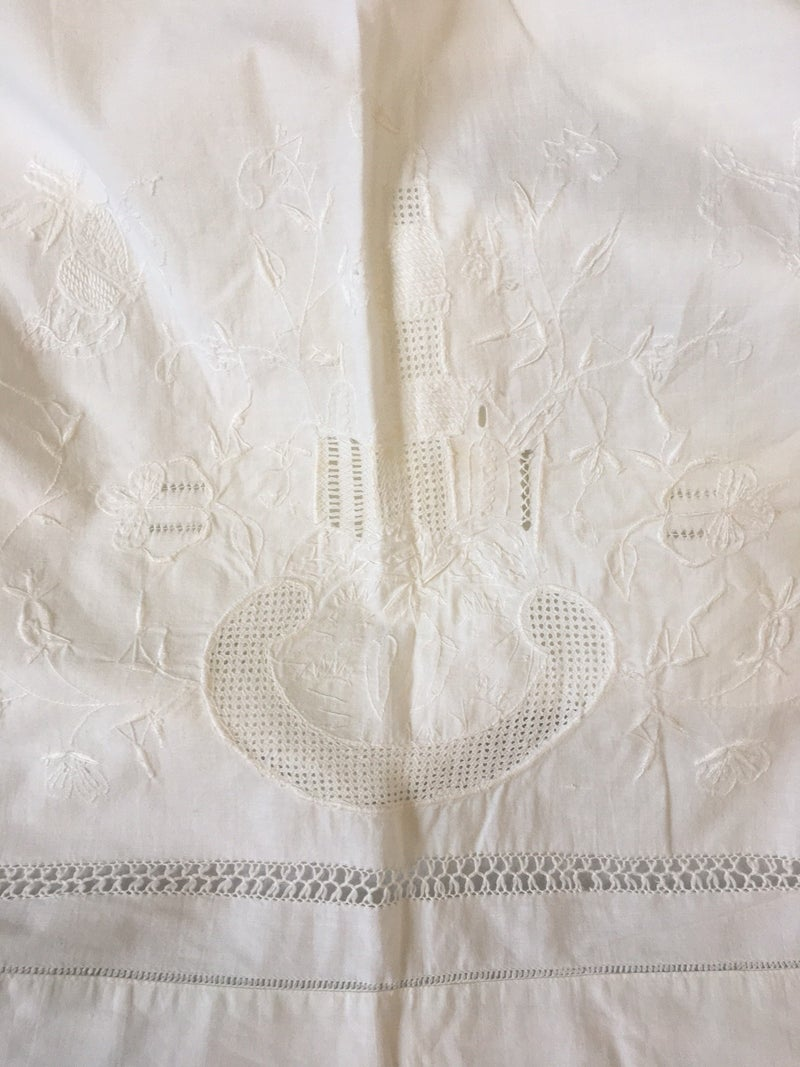 Vintage white cotton coverlet