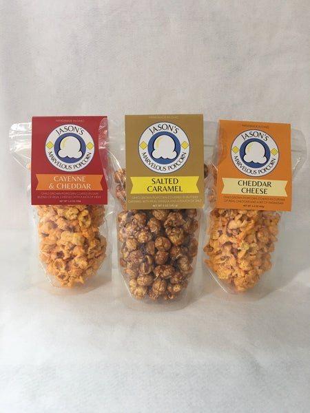 Salty, sweet, and hot popcorn trio
