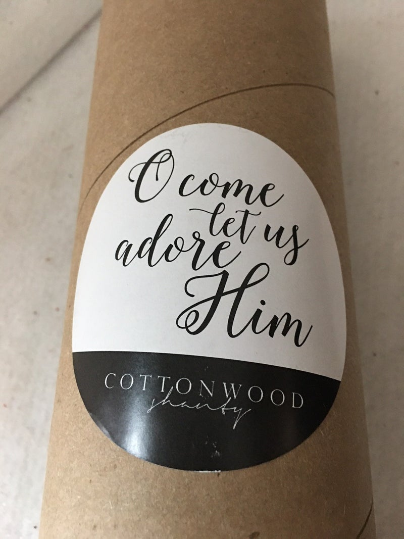 """Cottonwood Shanty paper banner """"O' Come let us adore Him"""""""