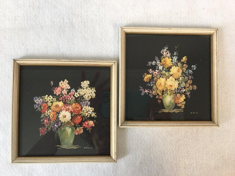 Pair of vintage floral prints