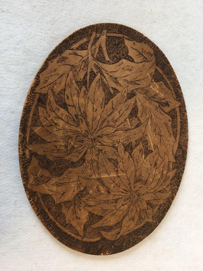 Antique Pyrography (wood burning) poinsettia tray