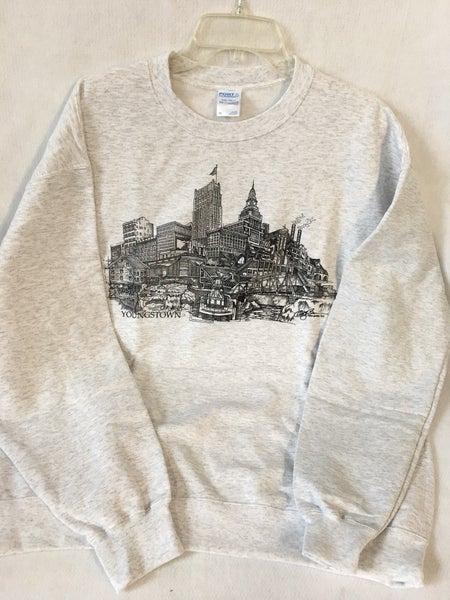 Men's XL crew neck sweatshirt, Youngstown drawing