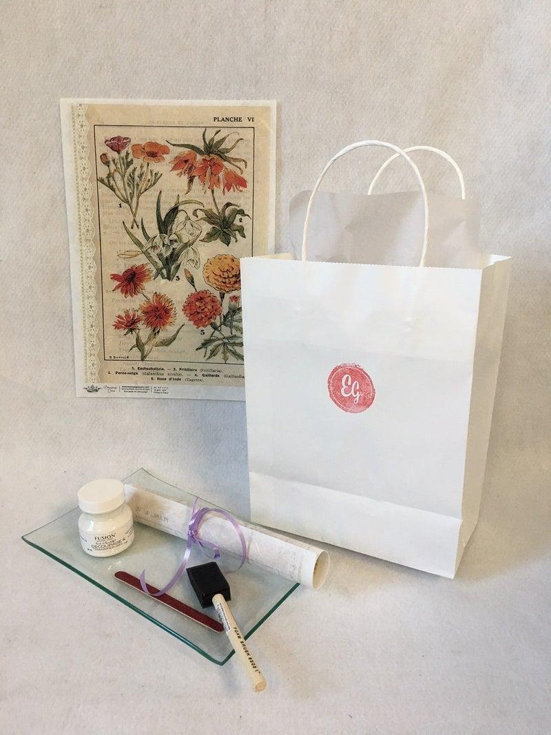 DIY glass tray kit, French Botanical