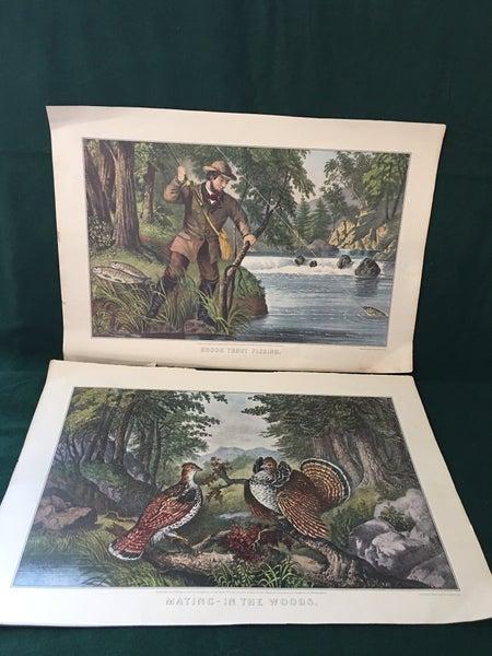 2 old calendar art pages