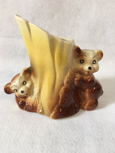 Vintage bear & tree stump vase